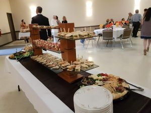 Appetizer buffet with the elegant towers